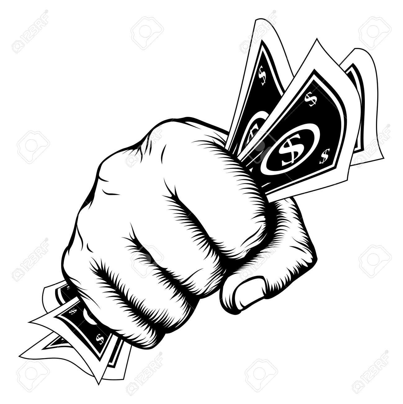 Hand In A Fist With Cash Dollar Bills Illustration In Woodcut Retro Style.  Imagens
