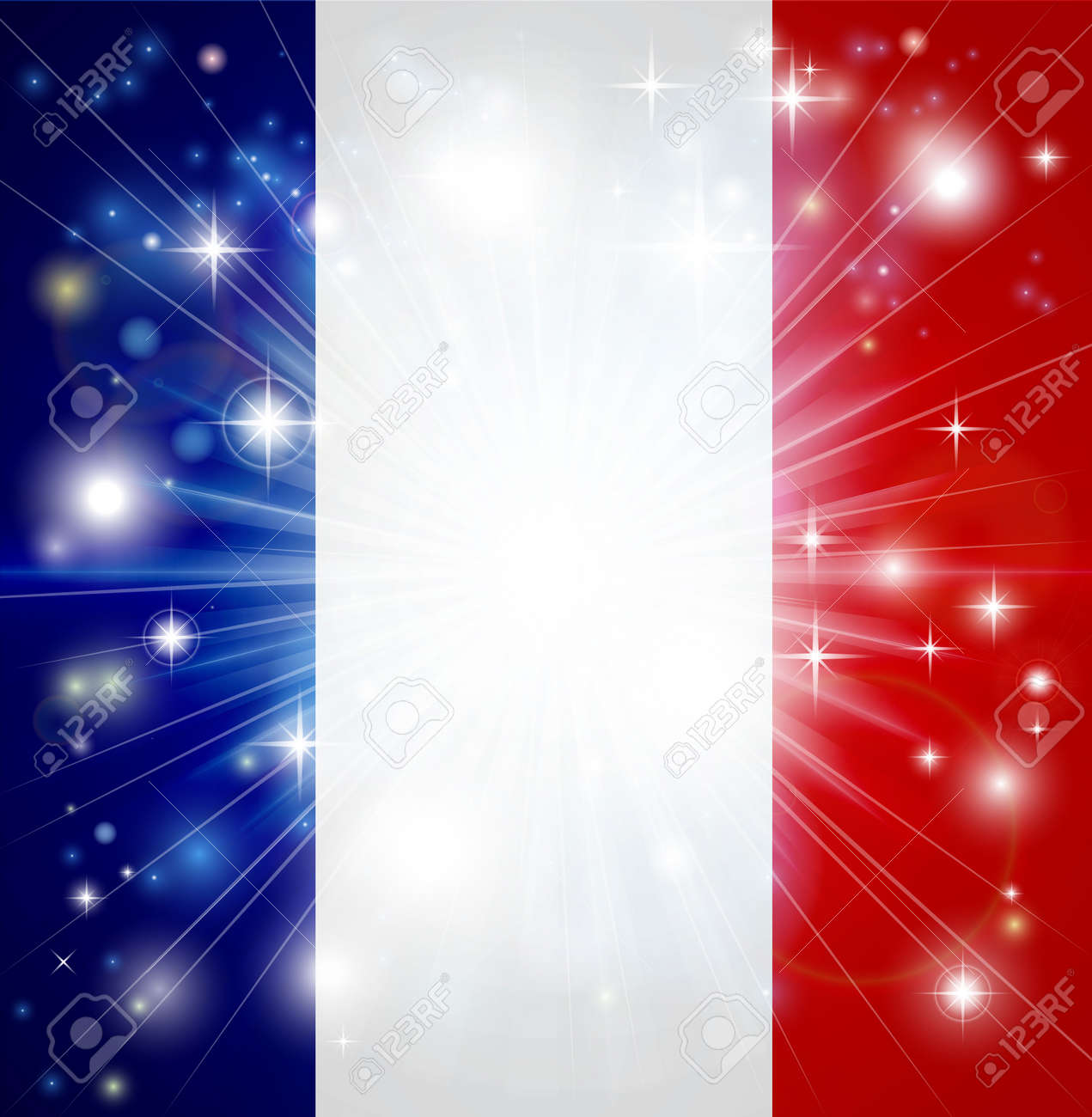 Flag of France background with pyrotechnic or light burst and copy space in the centre Stock Vector - 16686345
