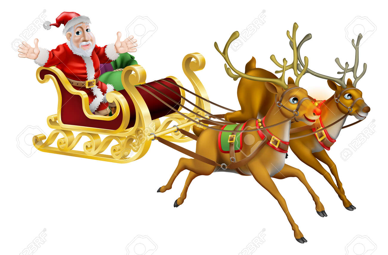 illustration of santa claus in his christmas sled being pulled by red nosed reindeer stockfoto - Christmas Sled