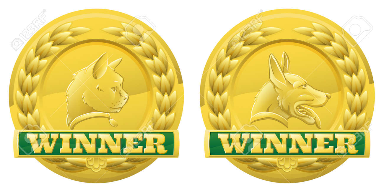 Gold cat and dog pet winners medals for pet shows or for pet related product reviews or other cat and dog pet competitions Stock Vector - 16839542