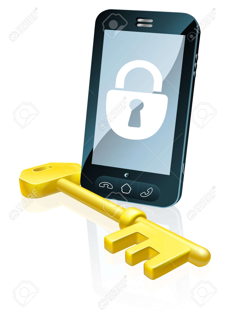 A mobile phone security concept. Mobile phone with gold key and padlock lock icon on the screen Stock Vector - 16874428