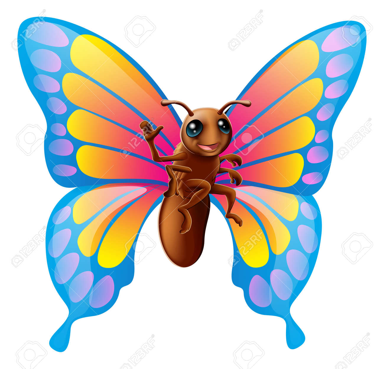 illustration of a happy cute cartoon butterfly mascot waving