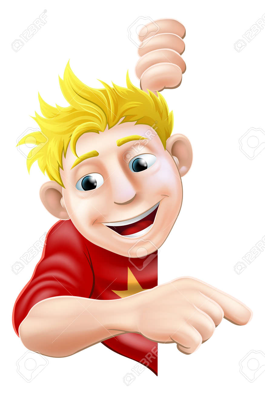 An illustration of a cool friendly young man character behind a sign or banner pointing a finger at it Stock Vector - 16922205