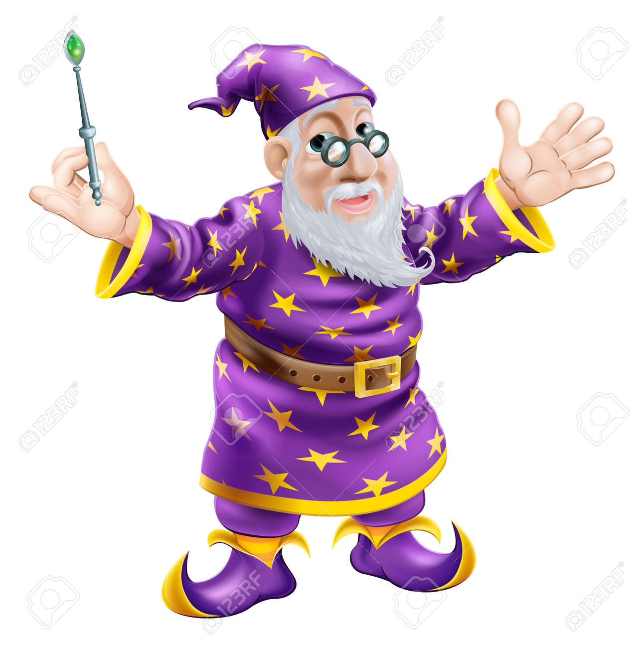 A cartoon cute friendly old wizard character holding a wand - 16922204