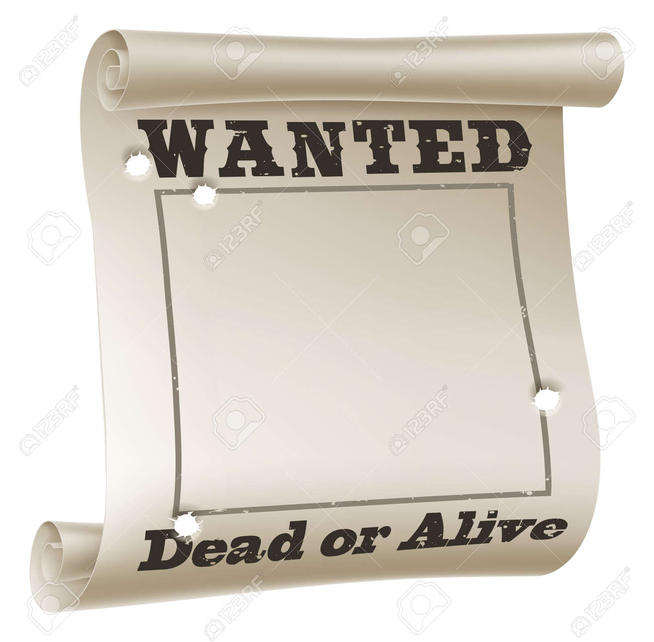 A Blank Wanted Poster With Text Saying Wanted Dead Or Alive And ...