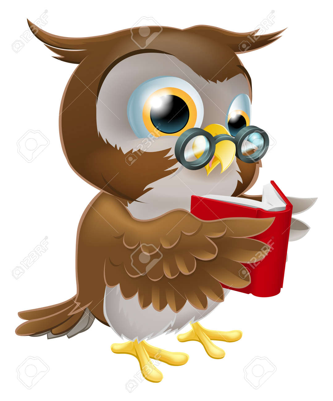 An illustration of a cute wise cartoon owl character wearing glasses and reading a book Stock Vector - 17174621