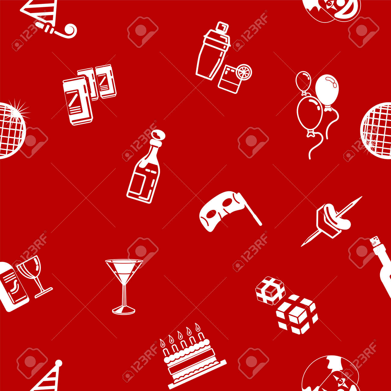 A repeating seamless party background tile texture with lots of drawings of different party icons Stock Vector - 17174630