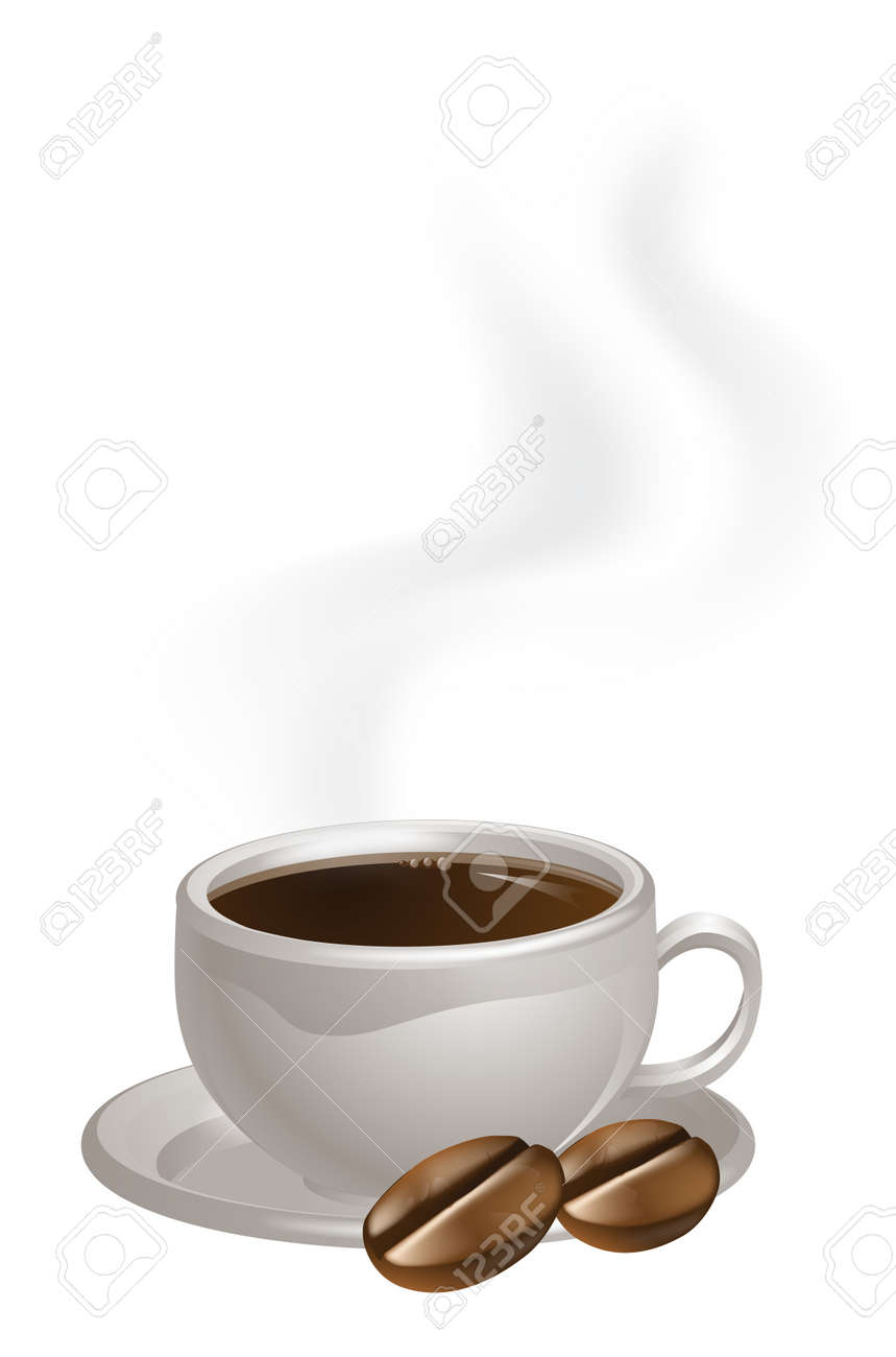 A steaming cup of coffee and two coffee beans drawing Stock Vector - 17238859