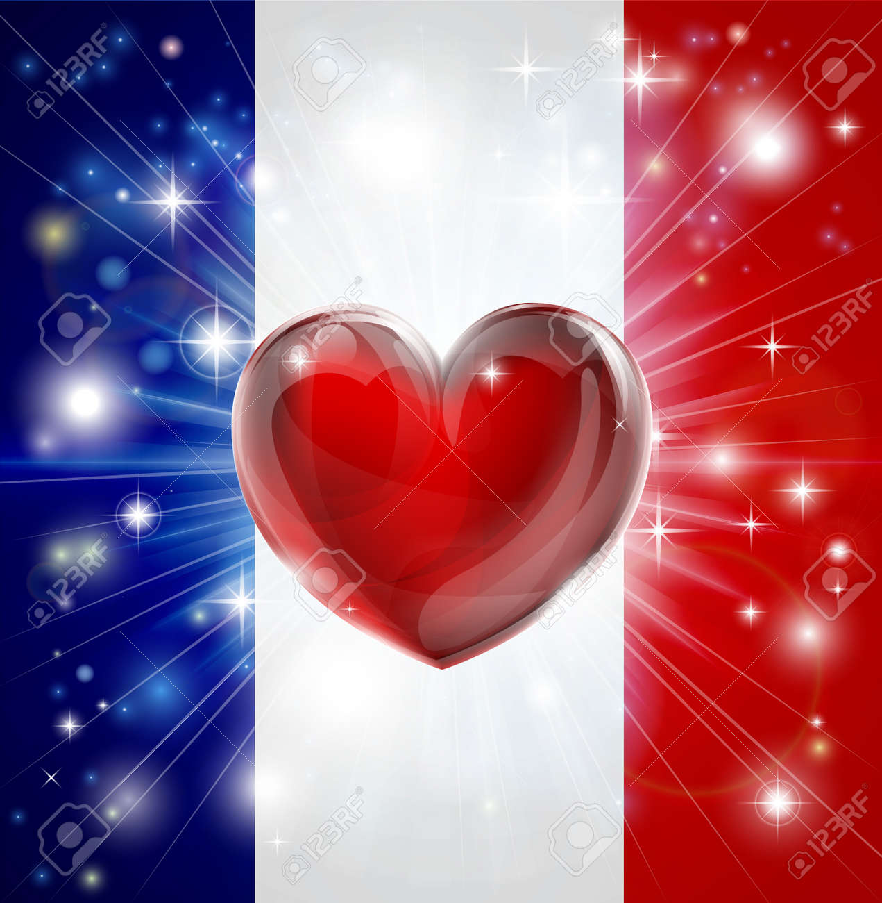 Flag of France patriotic background with pyrotechnic or light burst and love heart in the centre Stock Vector - 17345080