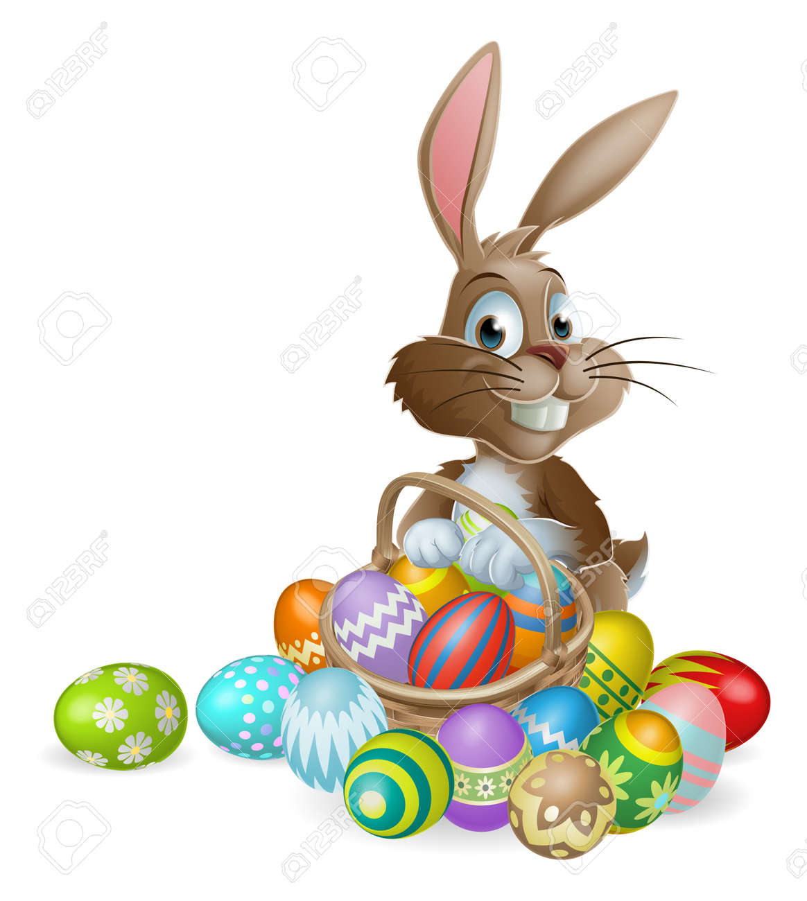 Easter bunny rabbit with Easter basket full of decorated Easter eggs Stock Vector - 17477062