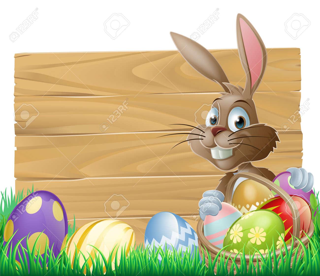 Il Coniglietto Di Pasqua Con Un Cesto Di Uova Di Pasqua Con Le Uova