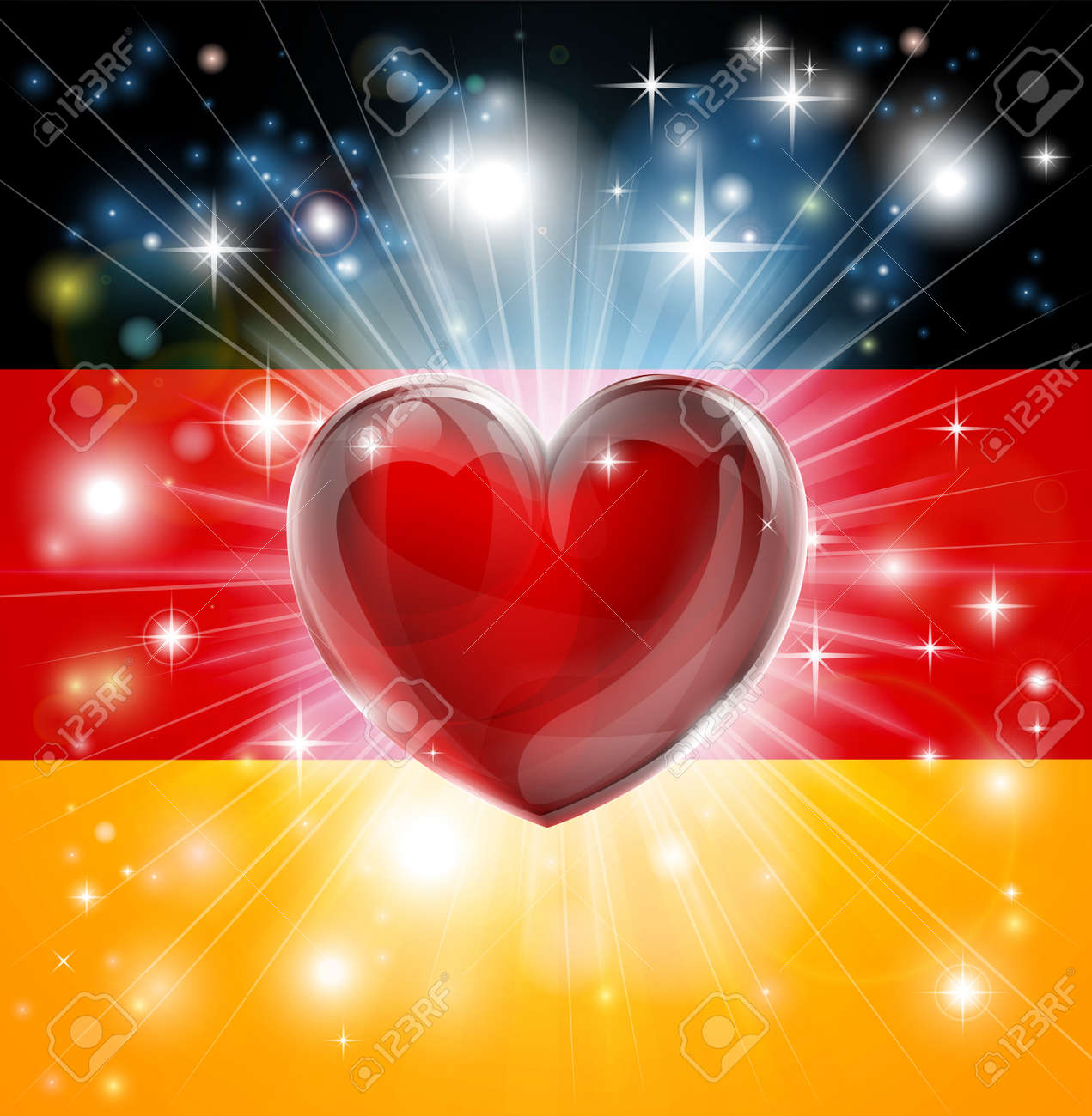 Flag of Germany patriotic background with pyrotechnic or light burst and love heart in the centre Stock Vector - 17477060
