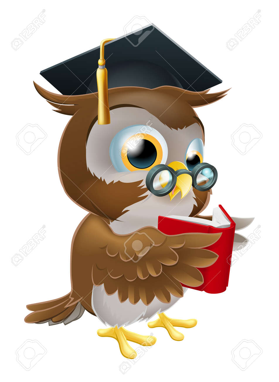 An Illustration Of A Wise Owl On Stack Books Reading Wearing Glasses And