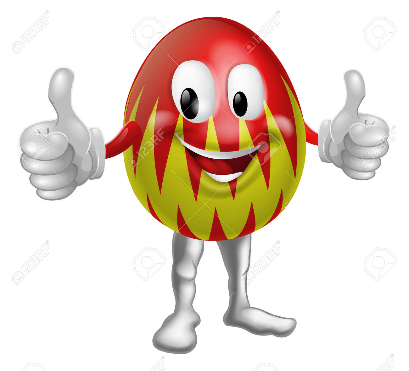 An illustration of a happy fun cartoon Easter egg mascot character doing a thumbs up Stock Vector - 17560402