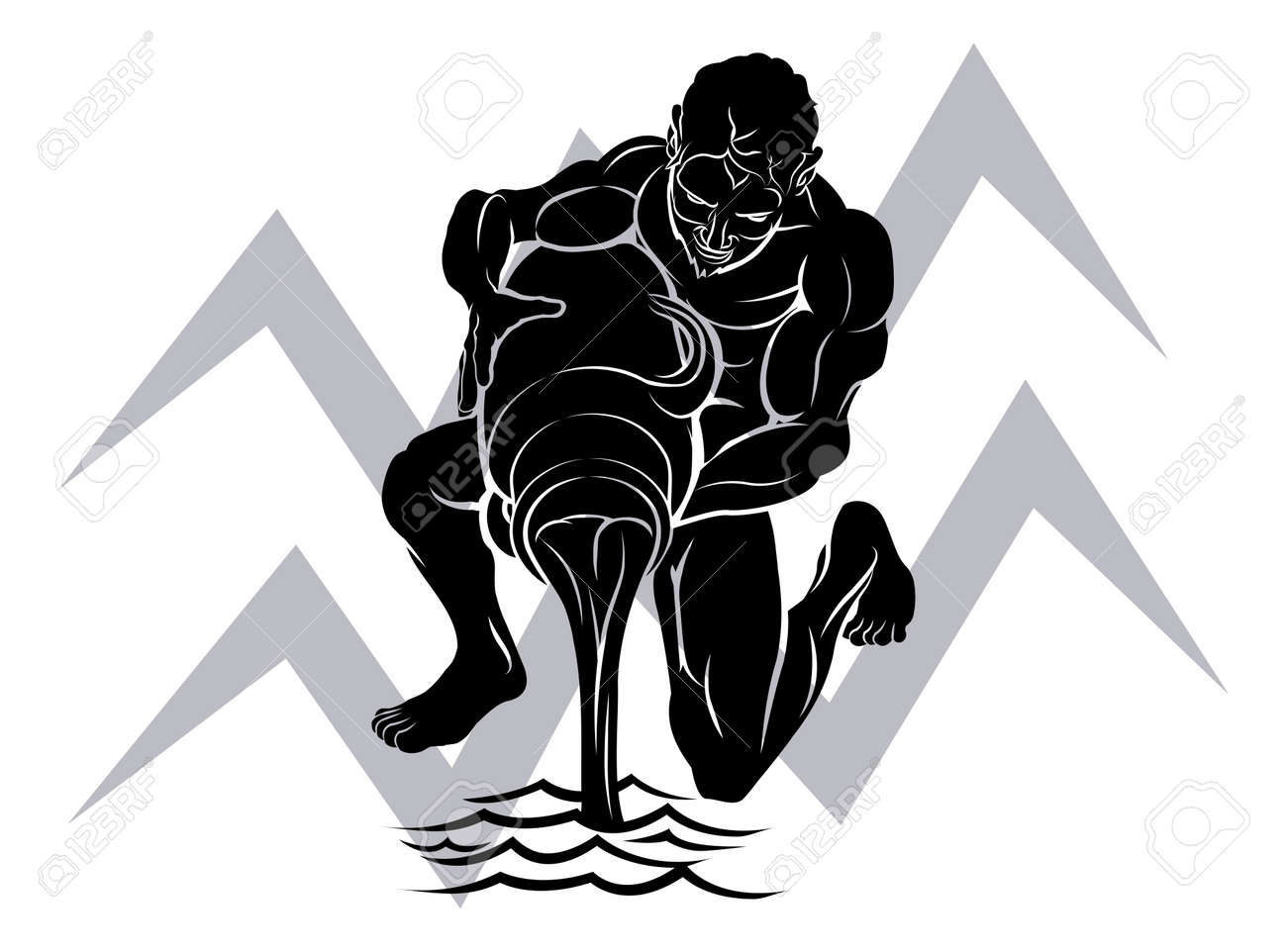 Illustration Of Aquarius The Water Bearer Or Carrier Zodiac ...