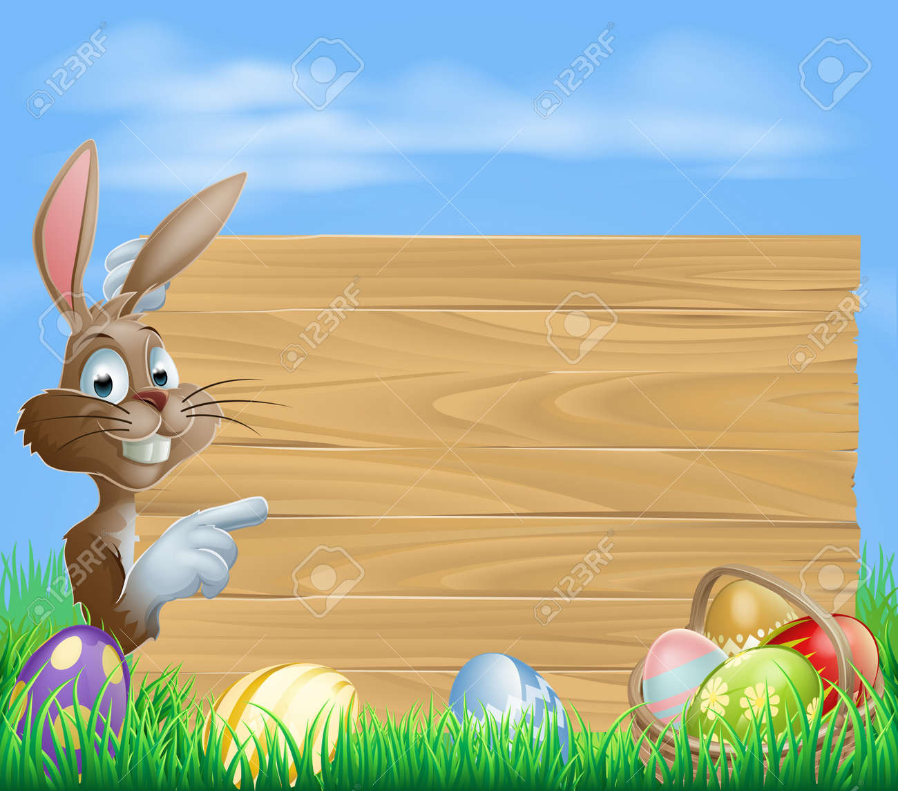 Easter bunny with Easter Eggs and blank wooden sign for your text Stock Vector - 17560409