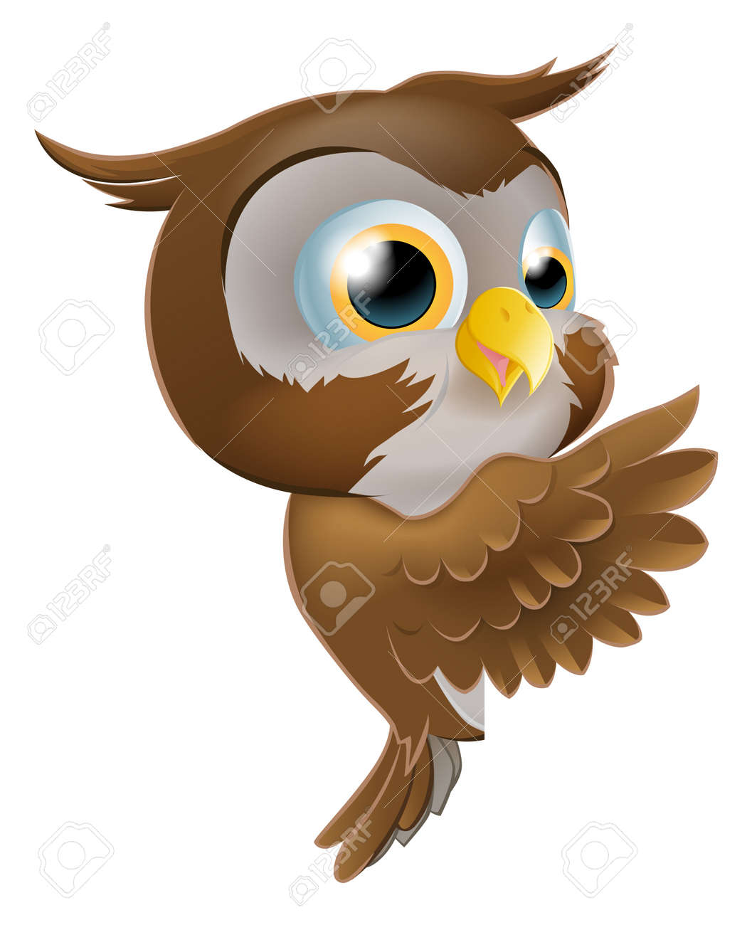 An illustration of a cute cartoon owl character peeking round from behind a sign and pointing or showing what it says Stock Vector - 17682646