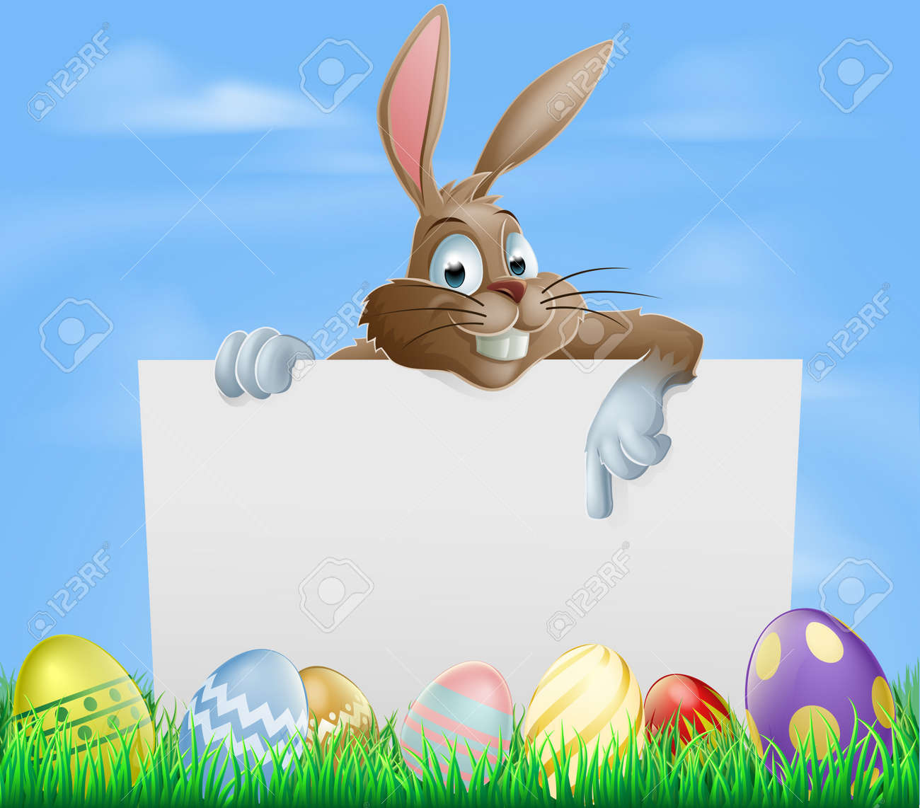 Easter bunny pointing at blank sign with painted chocolate Easter eggs in green field Stock Vector - 17682741