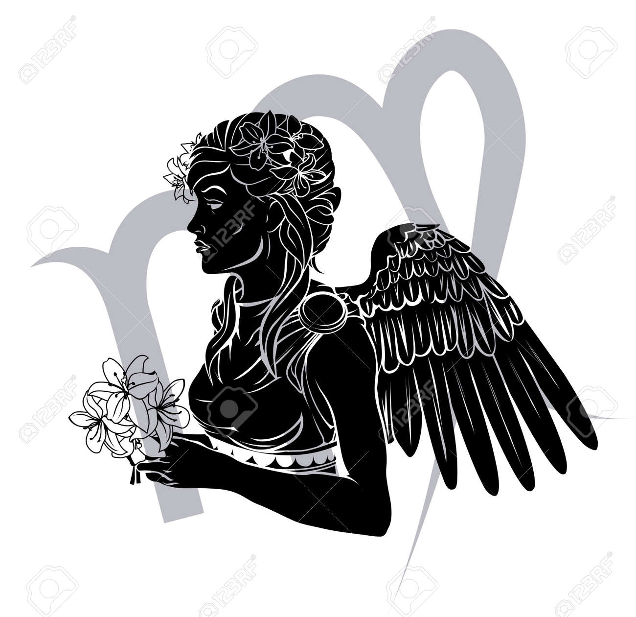 Illustration of Virgo the virgin zodiac horoscope Stock Vector - 17682766