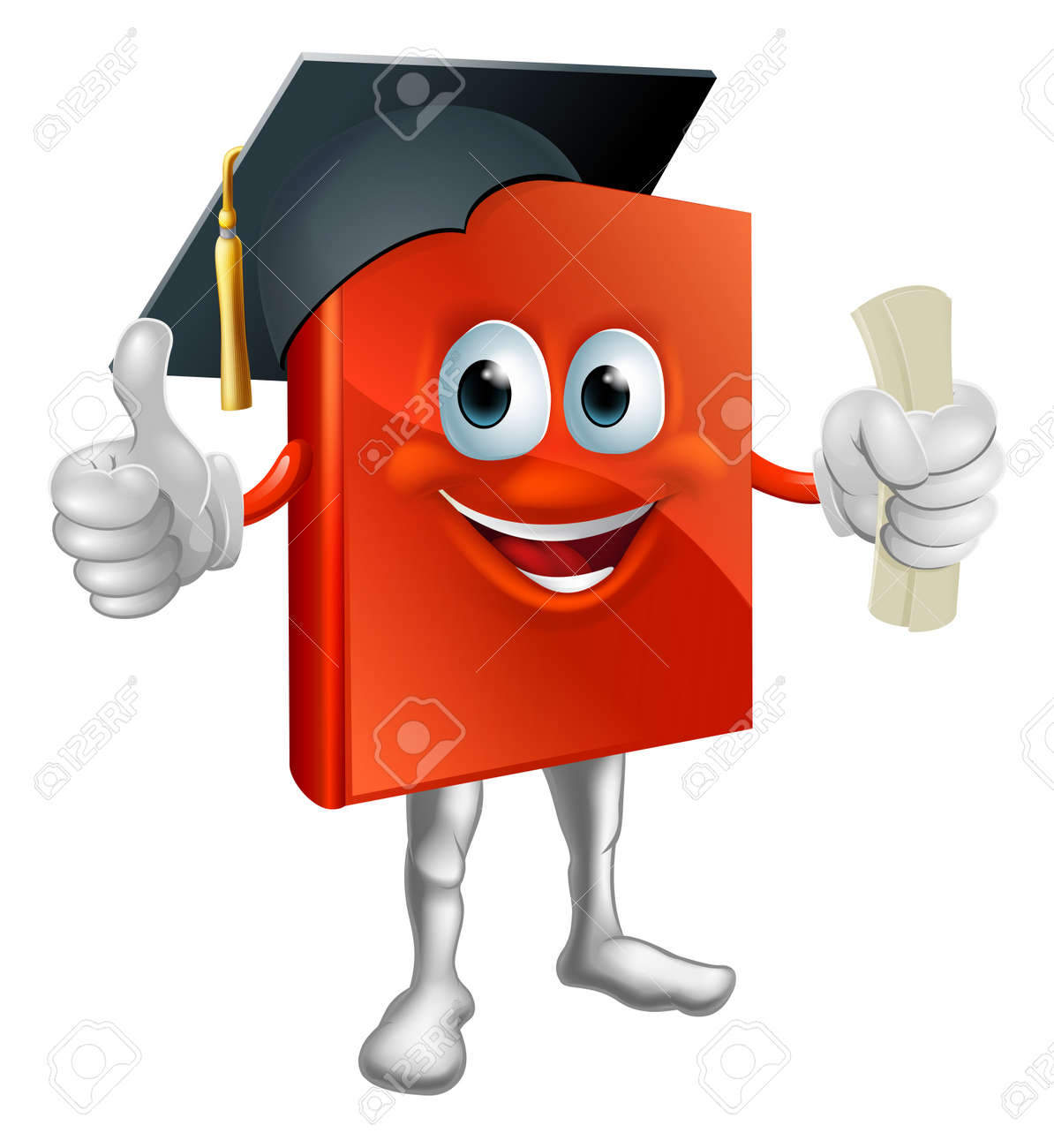 Cartoon graduation book education mascot giving thumbs up, wearing mortarboard hat and holding a diploma. Stock Vector - 17819182