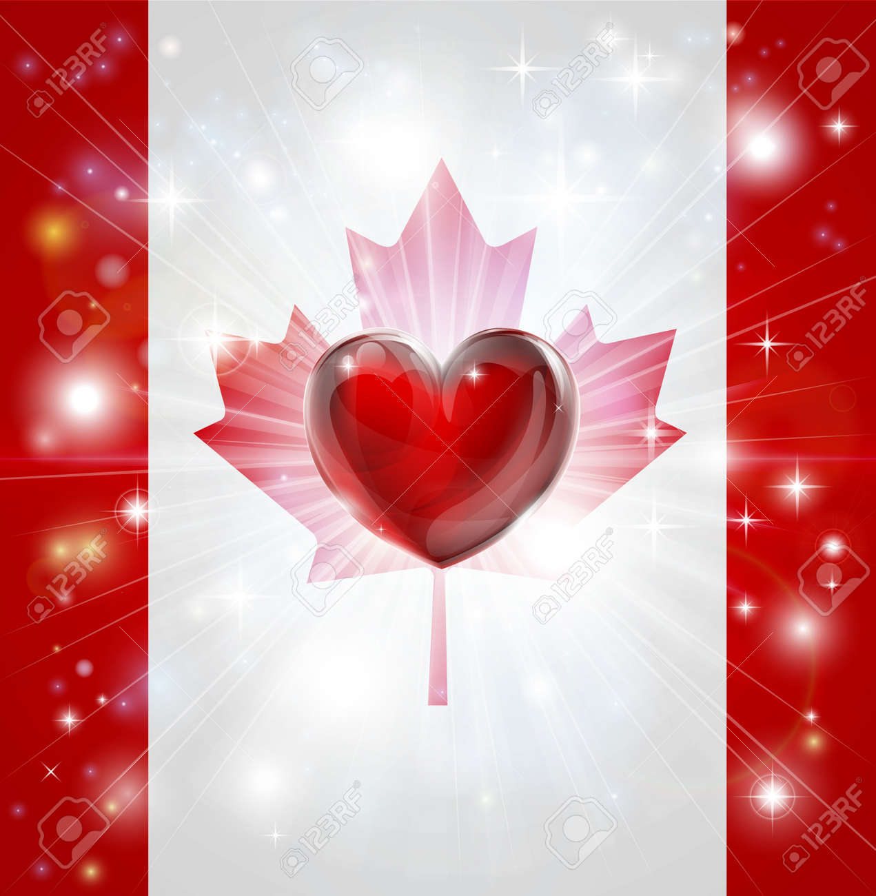 Flag of Canada patriotic background with pyrotechnic or light burst and love heart in the centre Stock Vector - 17819191