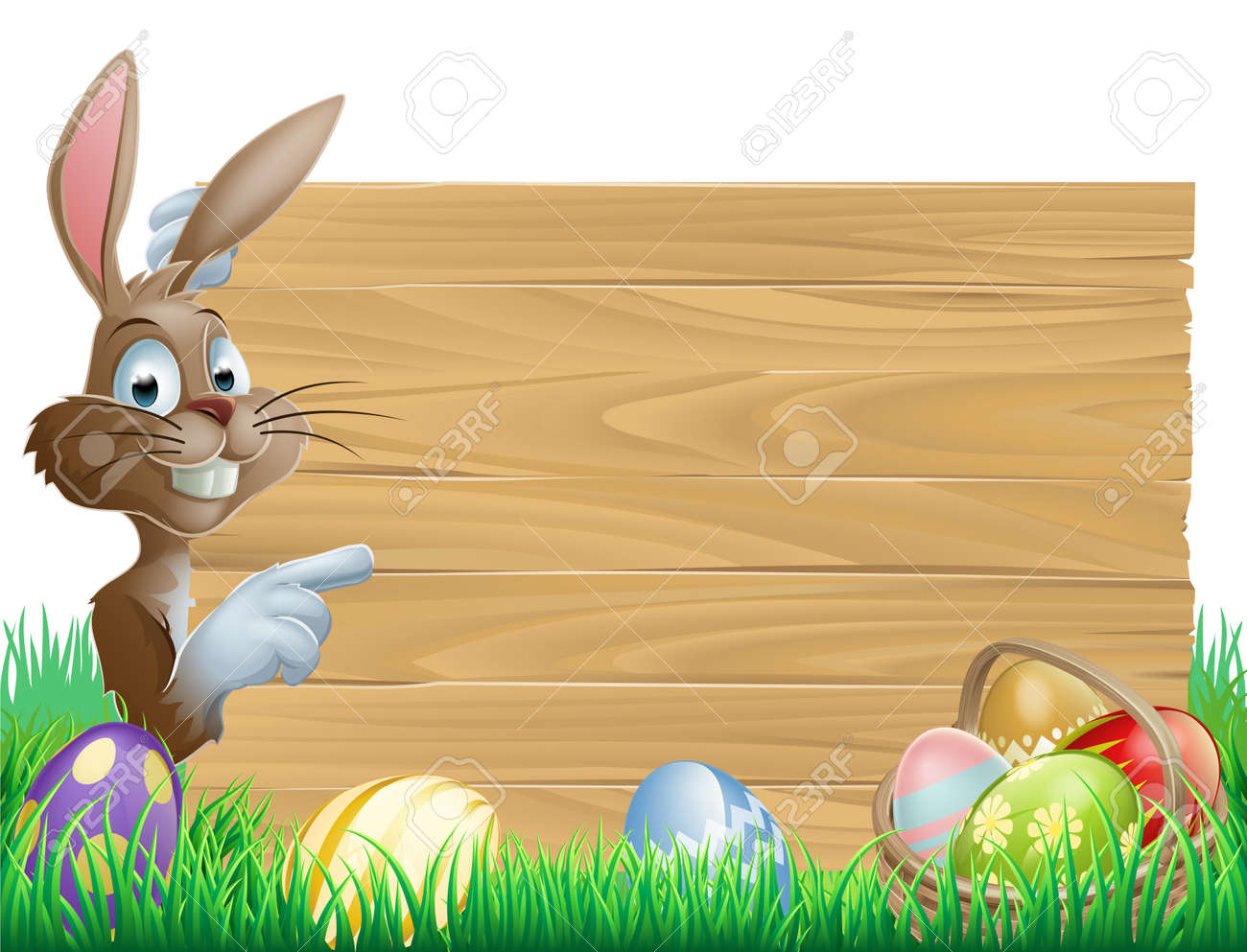 Easter bunny character pointing at a blank sign with space for text. Surrounded by painted chocolate eggs Stock Vector - 17819197