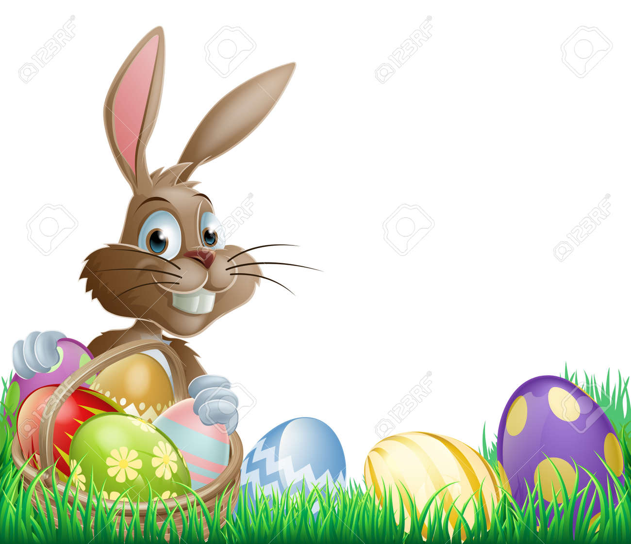 isolated easter footer design with a bunny rabbit and decorated
