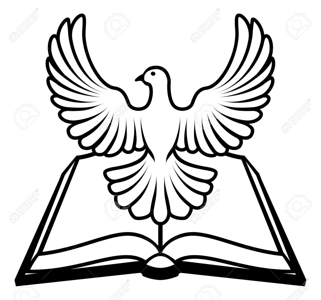 Christian bible with the holy spirit in the form of a white dove christian bible with the holy spirit in the form of a white dove stock vector buycottarizona Choice Image