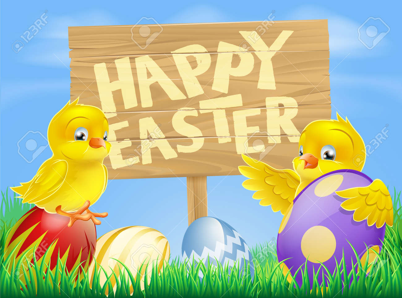 cartoon illustration of easter and painted easter eggs