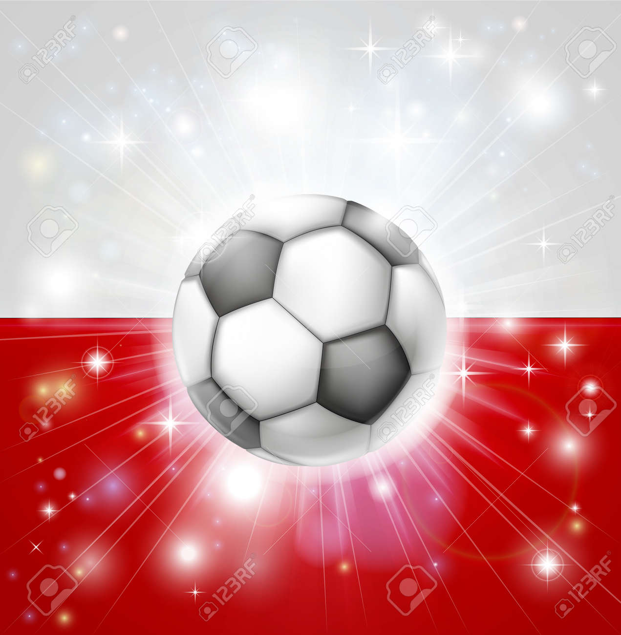 flag of poland soccer background with pyrotechnic or light burst