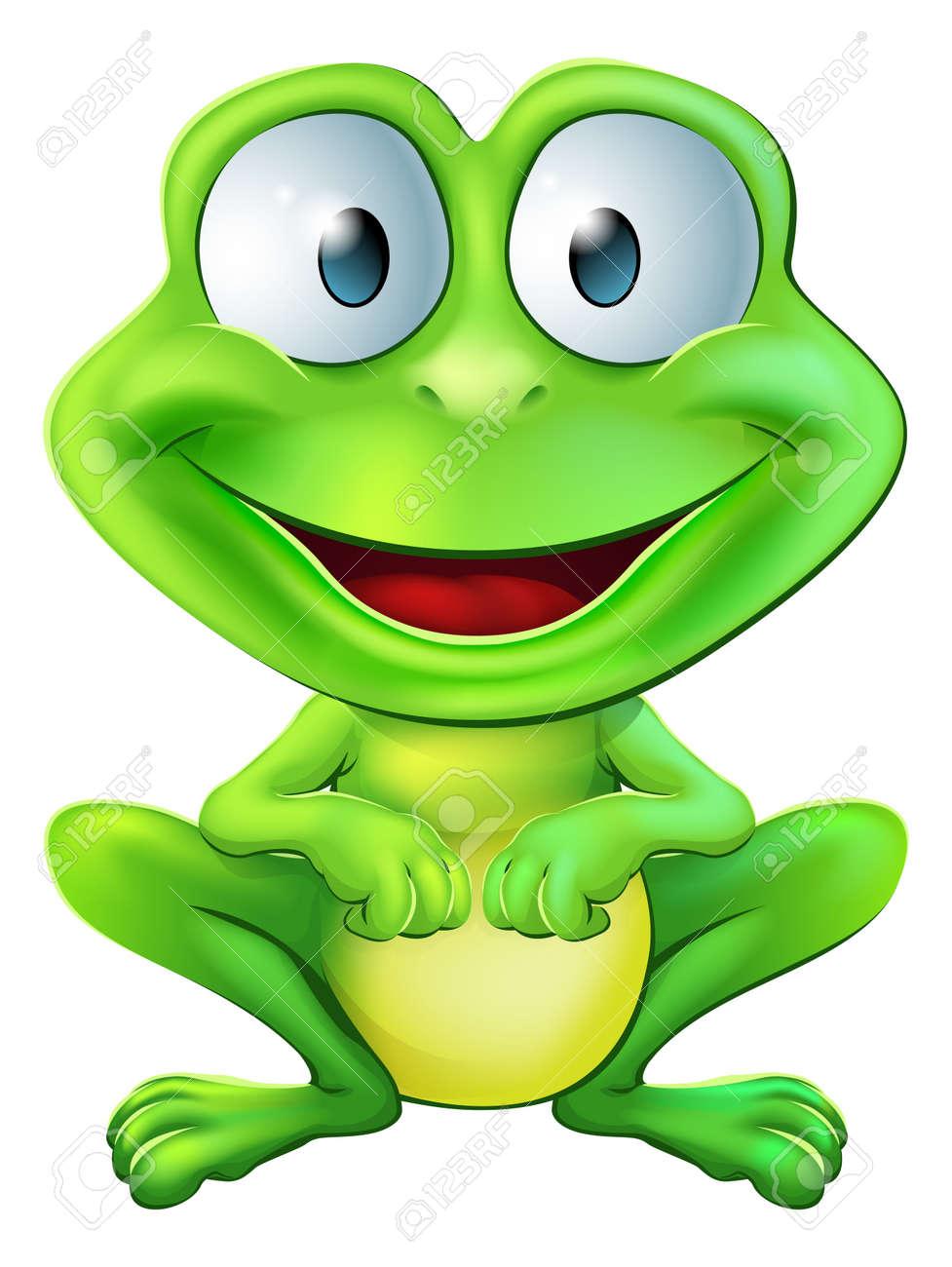 笑みを浮かべて座っている緑かわいいカエル キャラクターのイラストの