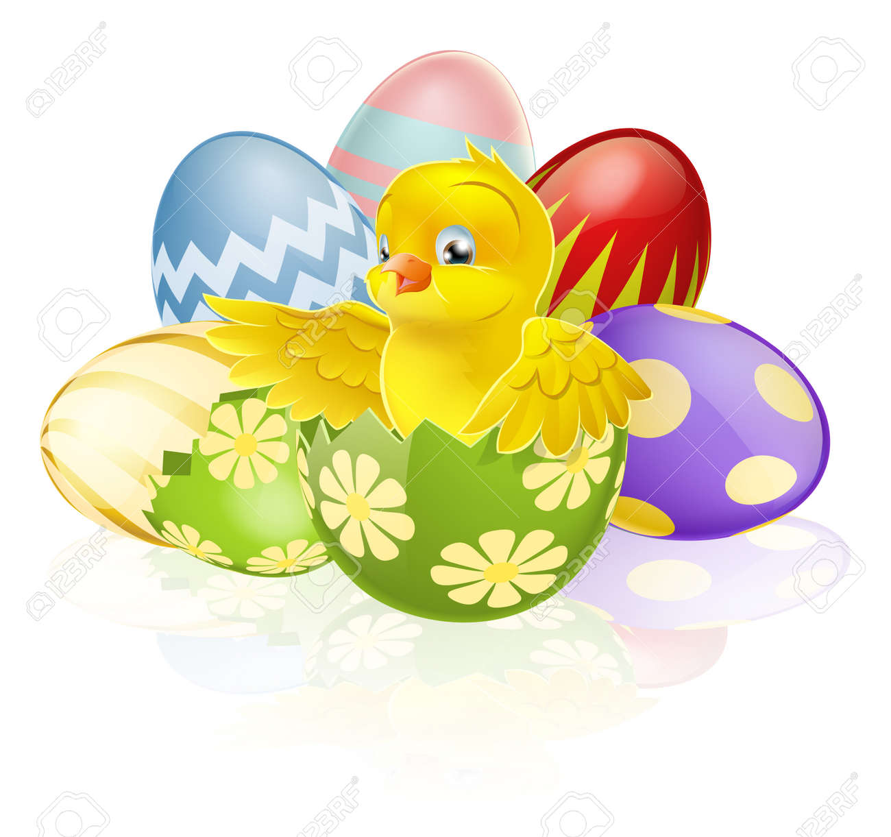 an illustration of a cartoon yellow easter chick hatching out of a broken easter egg with - Easter Chick