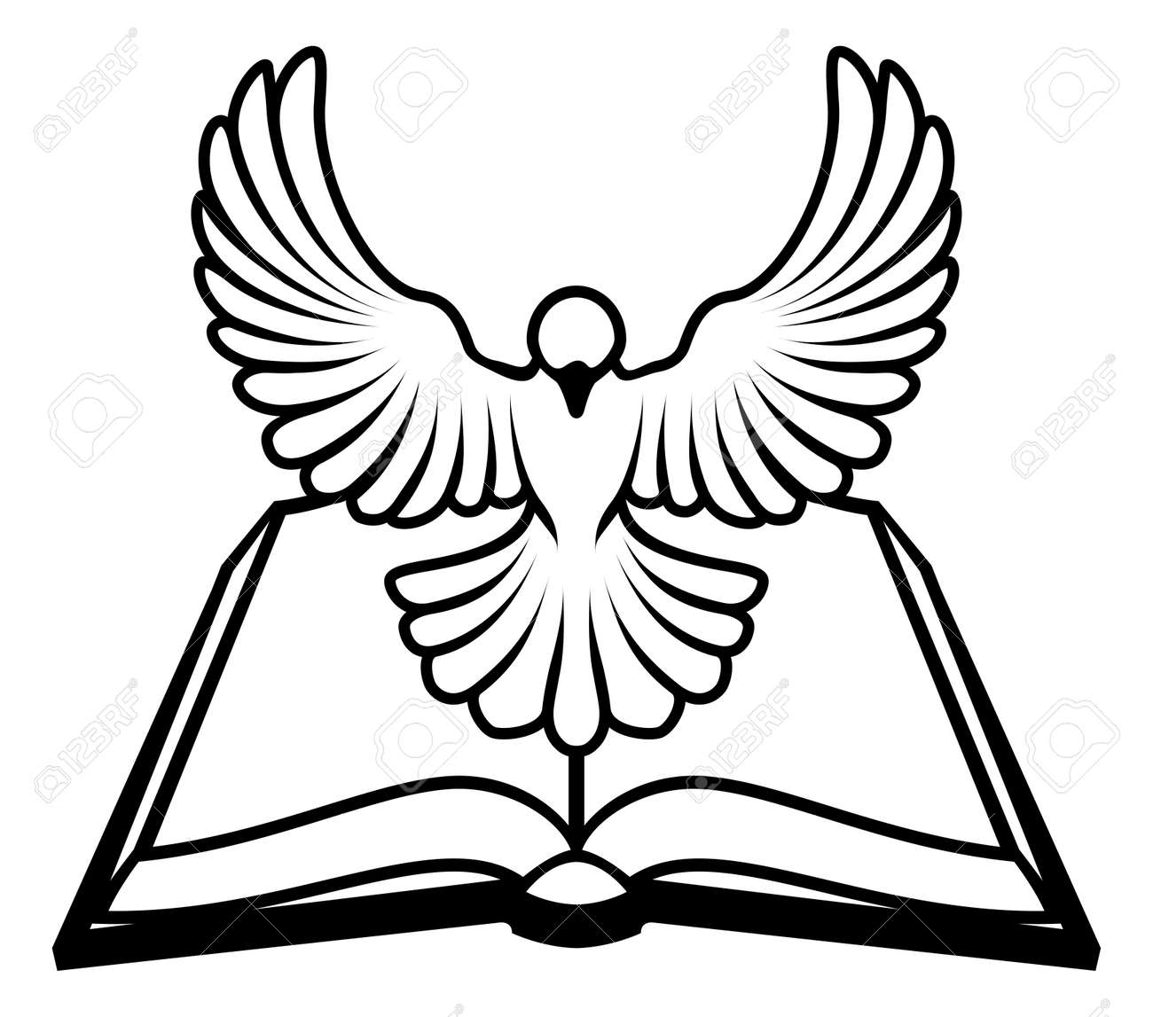A christian bible dove concept with a white dove representing a christian bible dove concept with a white dove representing the holy spirit flying out biocorpaavc