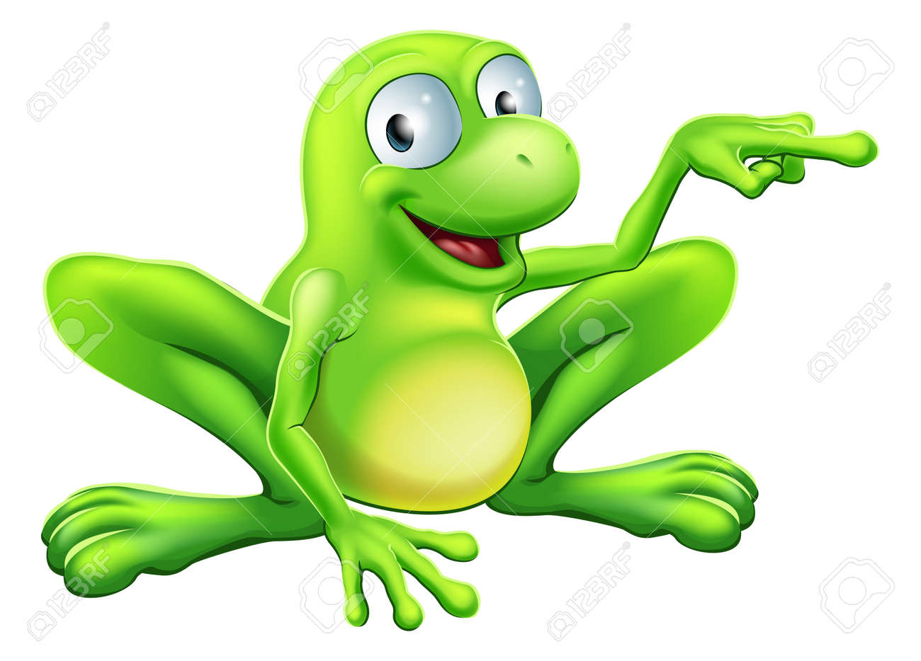 An illustration of a cute green happy frog character pointing or showing something Stock Vector - 18292501