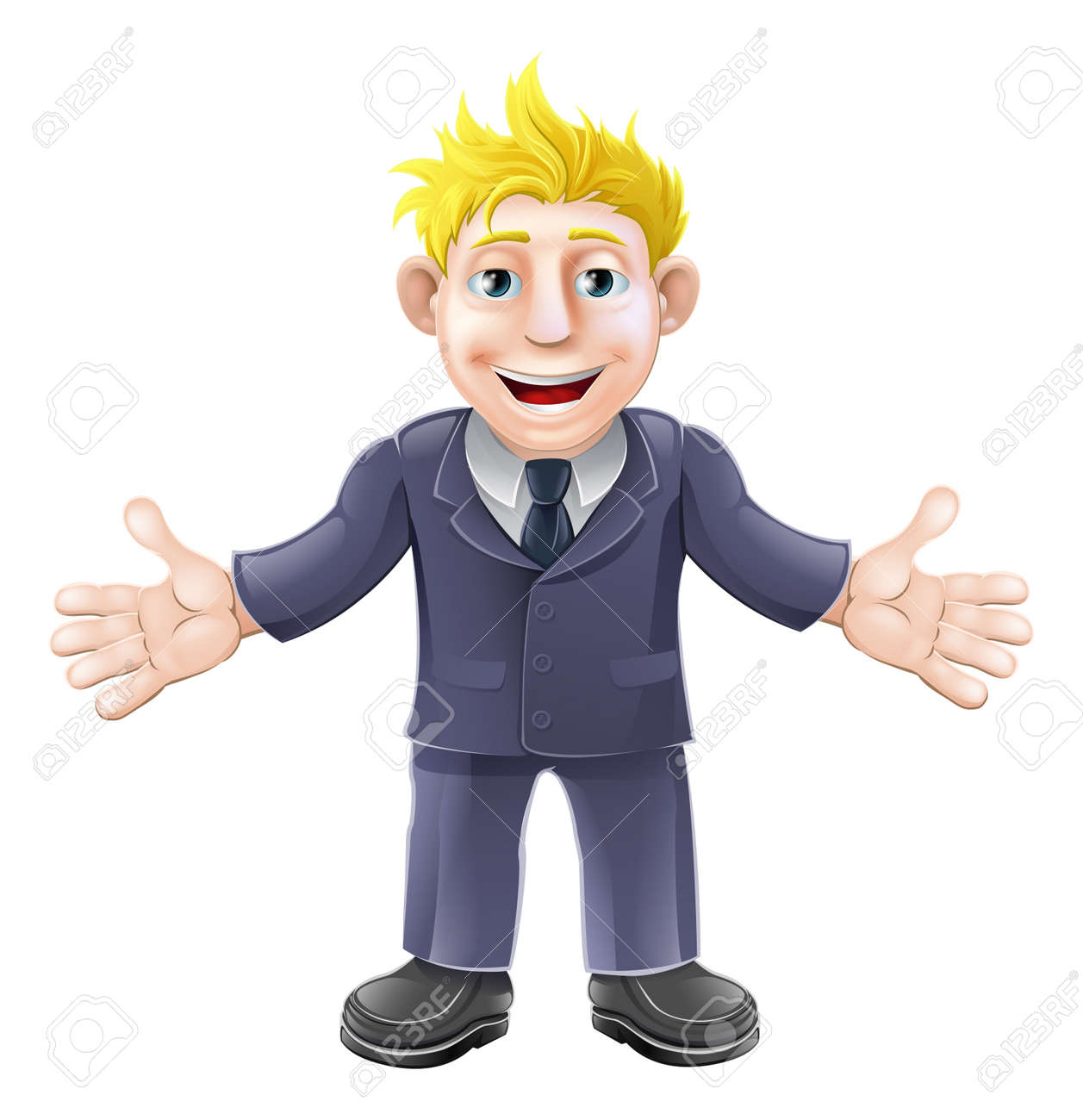 Cartoon illustration of a happy cartoon businessman in suit smiling Stock Vector - 18465926