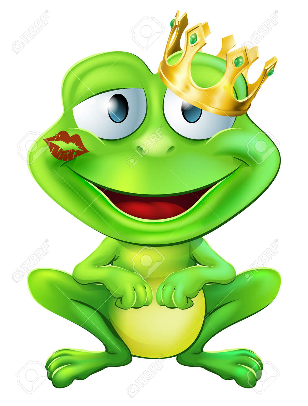 An illustration of a cute frog cartoon character wearing a gold crown with a red lipstick mark on his lips form a kiss - 18465845