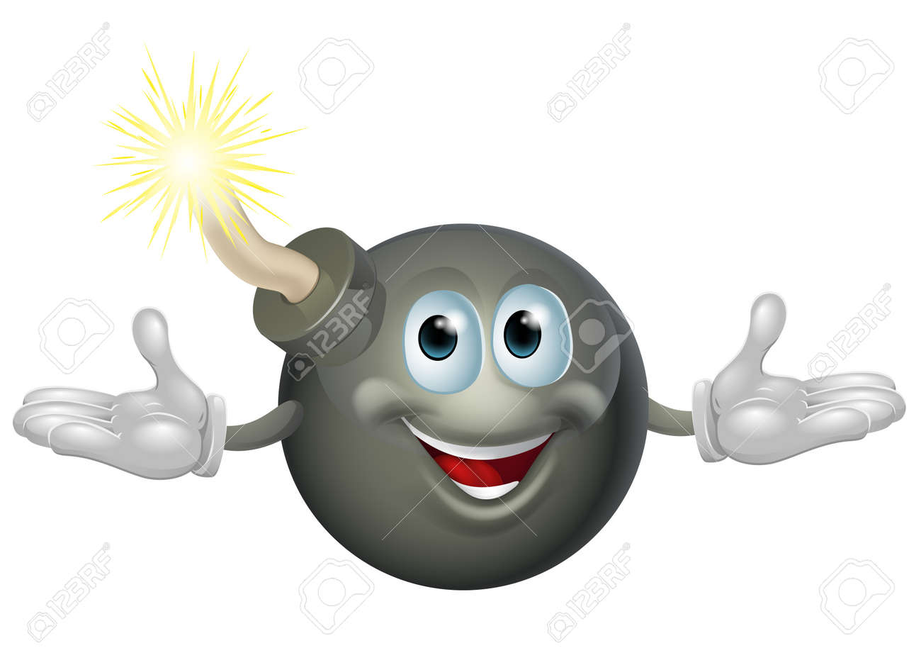 An illustration of a cute happy bomb cartoon character Stock Vector - 18542300
