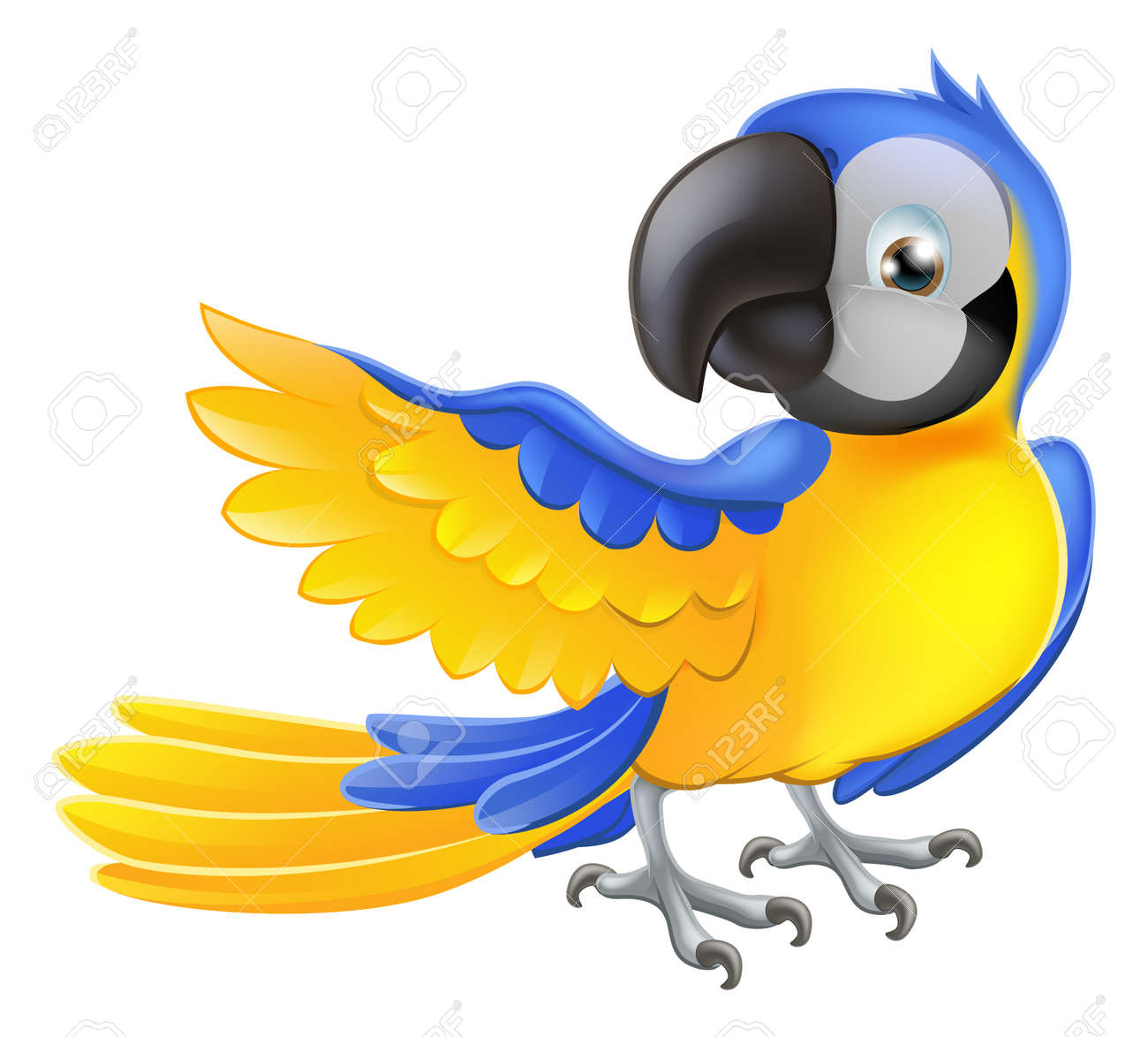 Illustration Of A Happy Blue And Yellow Cartoon Macaw Parrot ...