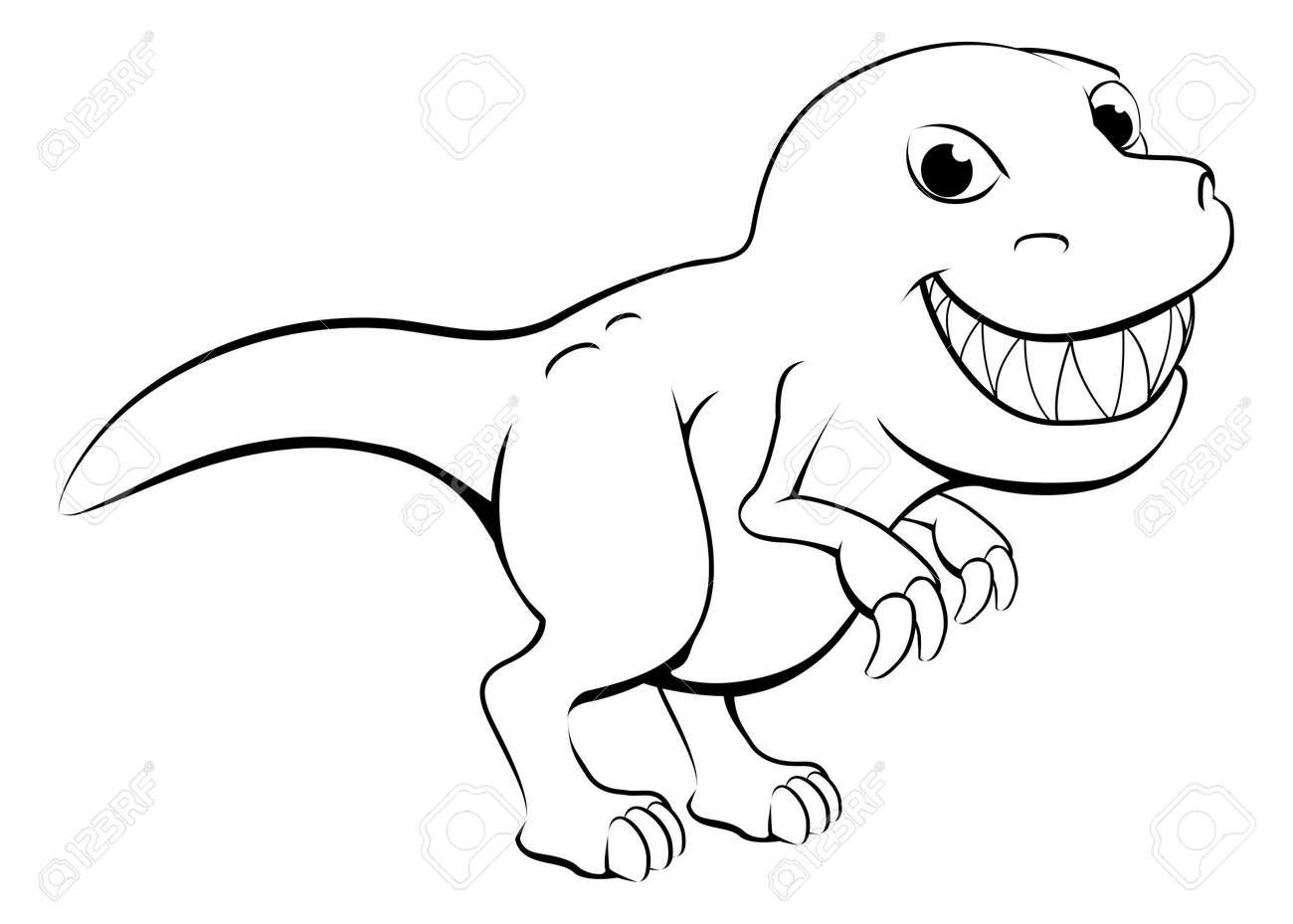 """Ilustracion Blanco Y Negro De Dibujos Animados Feliz Dinosaurio T Rex Ilustraciones Vectoriales Clip Art Vectorizado Libre De Derechos Image 18593551 Colección de impresiones en lienzo """"cuadros en blanco y negro son más populares las obras de este artista, que están disponibles en. ilustracion blanco y negro de dibujos animados feliz dinosaurio t rex"""