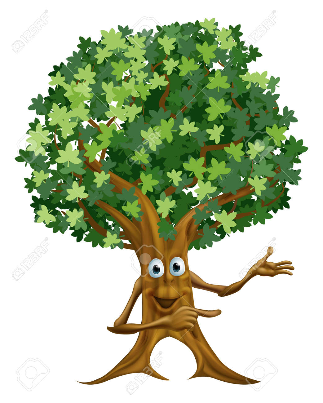 Drawing of a happy friendly tree man character pointing at something Stock Vector - 18851314