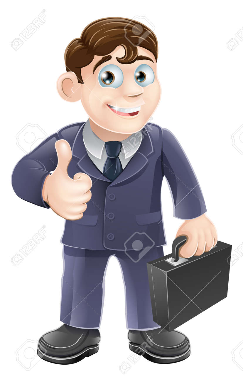 A happy smiling cartoon business character giving the thumbs up Stock Vector - 18853337