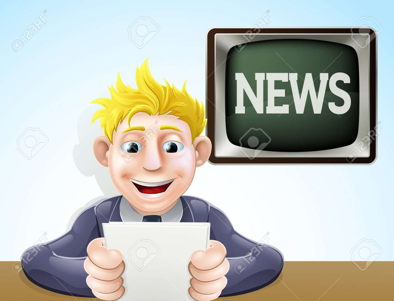 An illustration of a cartoon television news reader holding his notes in front of a screen reading news Stock Vector - 18853335