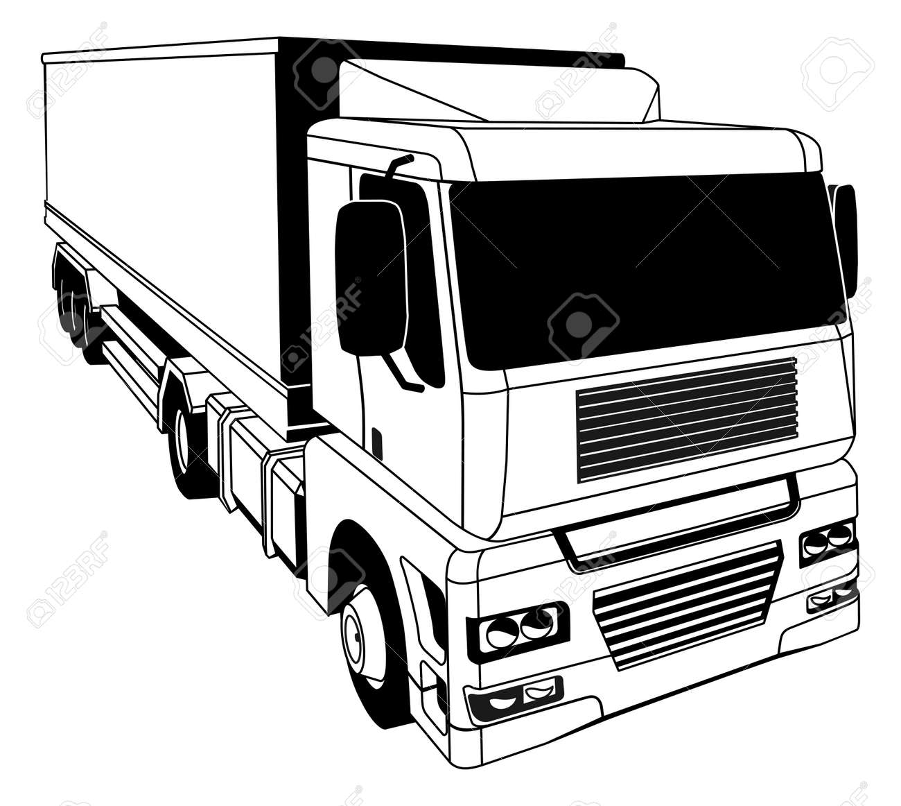 A black and white illustration of a stylised semi truck Stock Vector - 18853333