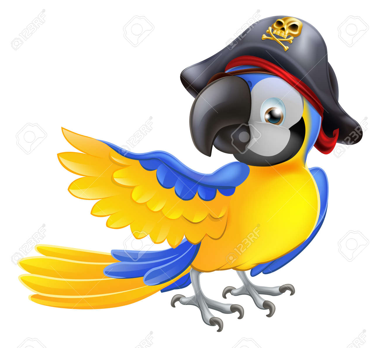A blue cartoon parrot with a pirate hat and eye patch pointing with its wing Stock Vector - 18903019
