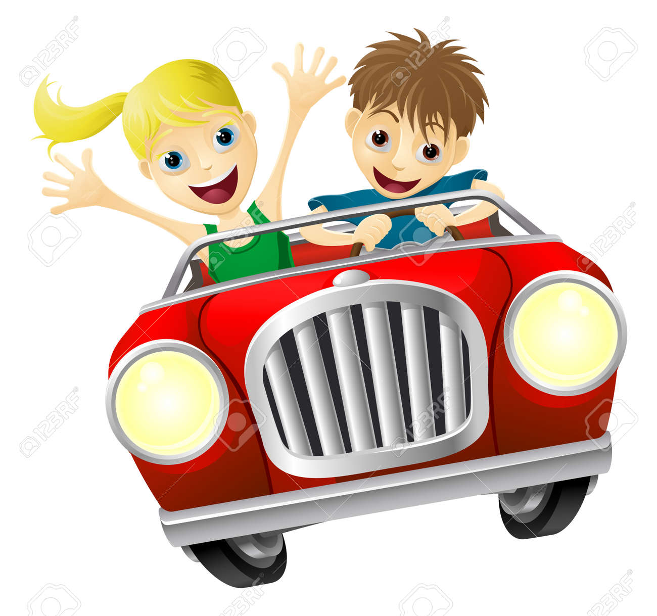 Cartoon Young Man And Woman Having Fun Driving A Red Convertible Car Royalty Free Cliparts Vetores E Ilustracoes Stock Image 19138090