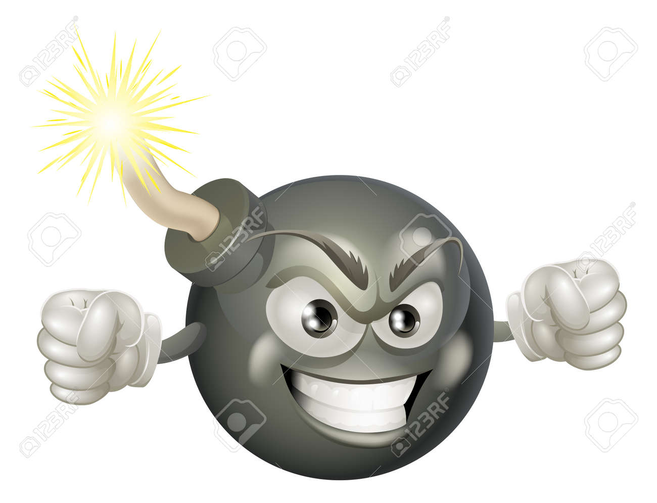 An illustration of mean or angry looking cartoon bomb character with a lit fuse Stock Vector - 19198118