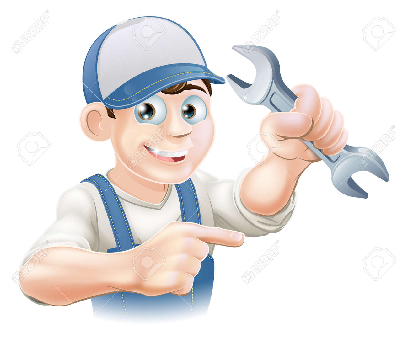 A plumber, mechanic or engineer in overalls pointing and holding a spanner or wrench Stock Vector - 19198124