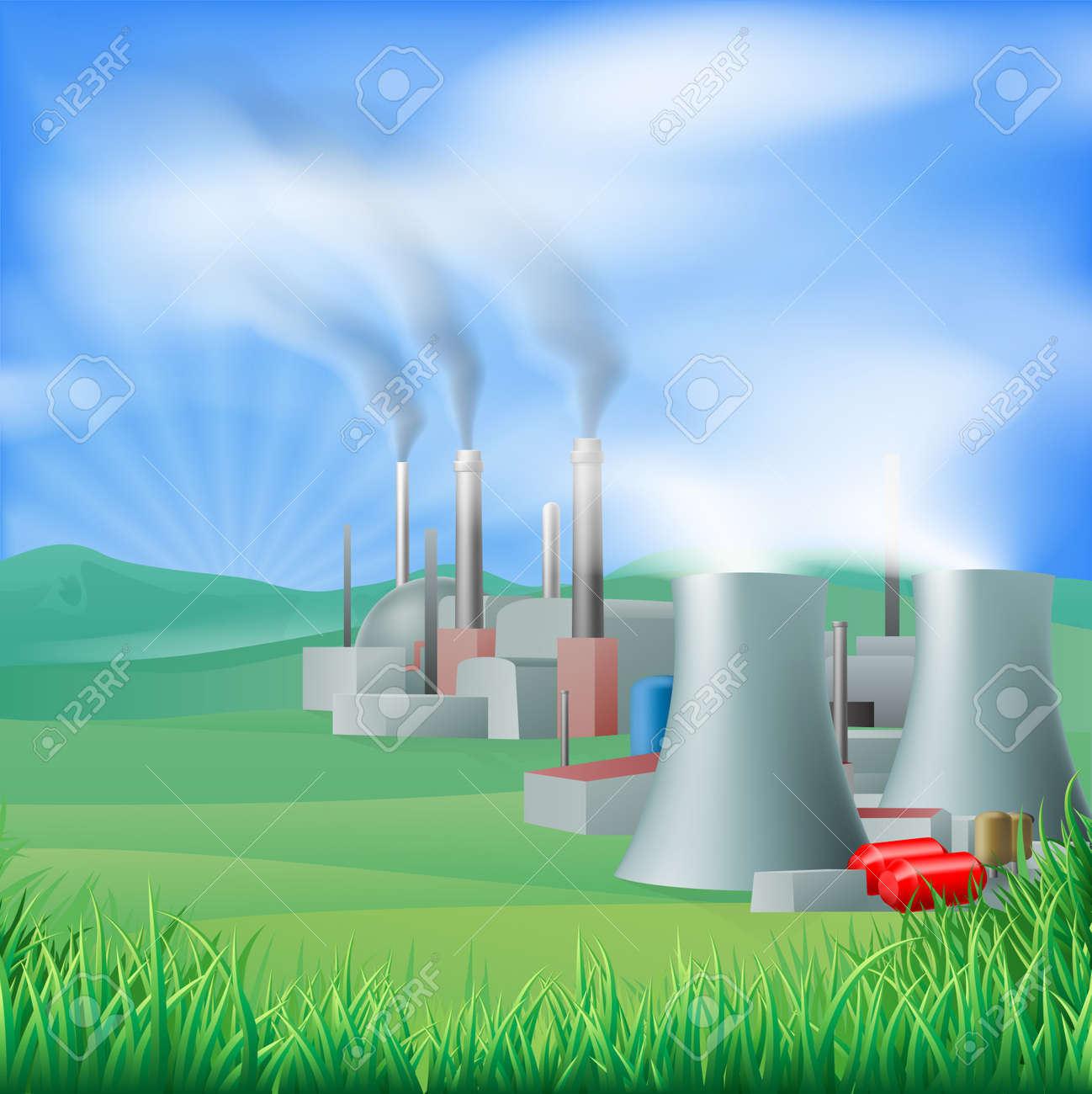 Illustration of a power plant generating power and electricity. Could be fossil fuel or other plant with chimneys and cooling towers, e.g. geothermal Stock Vector - 19367402