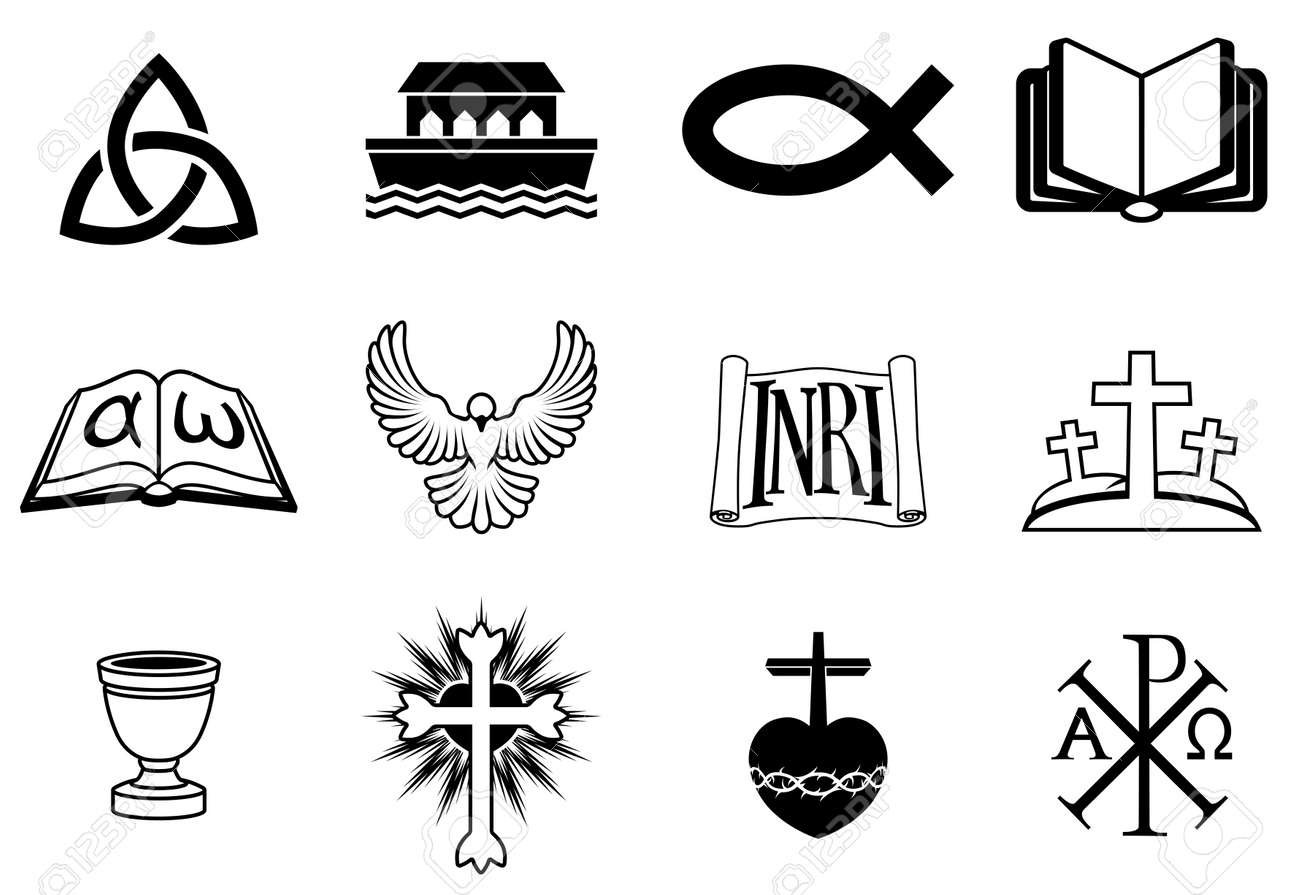 A set of icons pertaining to Christianity and Christian themes Stock Vector - 19367403