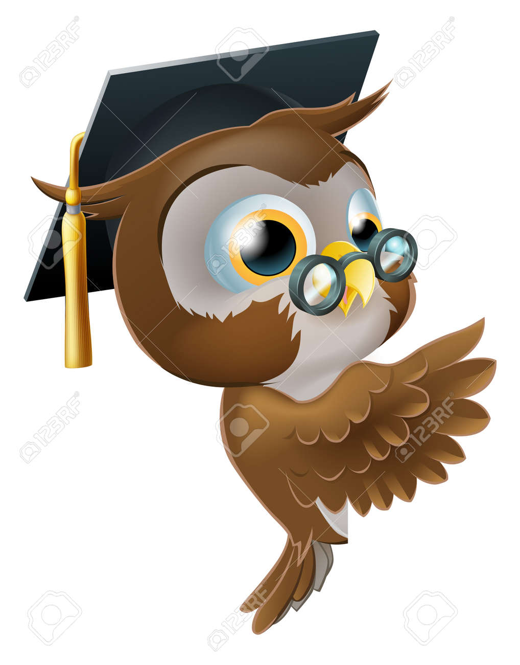 Illustration of a happy cute wise old owl leaning or peeking round a sign and pointing at it Stock Vector - 19367404